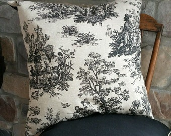 Natural & Black Toile Print Cotton Pillow Cover
