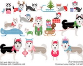 Christmas husky Winter husky Digital clip art for Personal and Commercial use - INSTANT DOWNLOAD