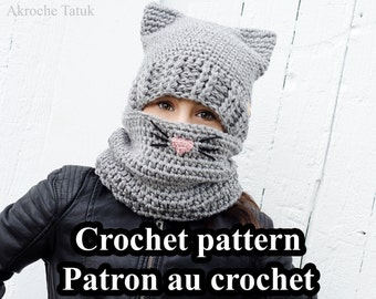 PDF ONLY. Cat Kit crochet pattern by Akroche Tatuk 4 sizes child to adult.