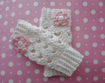 Crochet (0-3 mo) Baby Girl Flower Leg Warmers Newborn Infant White Leg Warmers - Various Colors