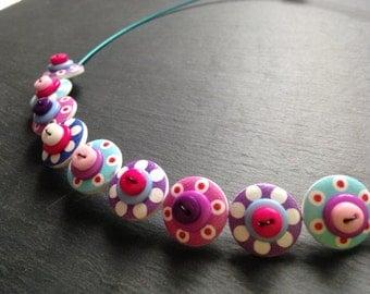 Spotty Sputnik Polkadot Choker Necklace Turquoise, Pinks and Purples