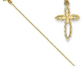 14k Cross Cut-out Pendant with 14k Chain [20]