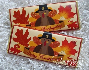 Thanksgiving Fall Candy Bar Wrapper - Chocolate Bar Favor - Thanksgiving Party, Dinner, Autumn Celebration,  Appreciation