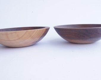 "6"" Walnut Wooden Snack Bowl By Willful, Gold Sparkle, small bowls, solid wood bowls"