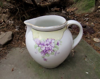 bavaria pitcher violets with gold trim hand painted artist signed