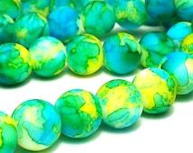 20 Yellow Green and Blue Rubberized Beads - 10mm Matte Beads, B1003