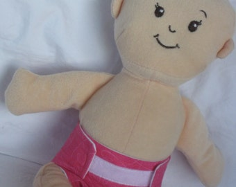 Wee Baby Stella Doll Diaper-Handmade Diaper fits Wee Baby Stella dolls-Bright Pink Heart swirl print-Great for pretend play
