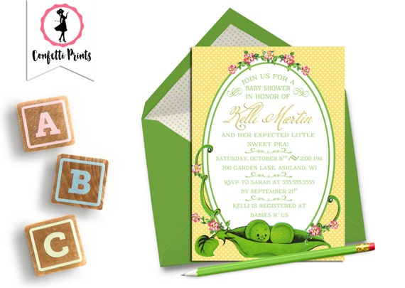 Peas In A Pod | Two Peas In A Pod | Twin Baby Shower | Twins Baby Shower | Shabby Chic | Vintage Baby Shower Invitation - SWEET PEA