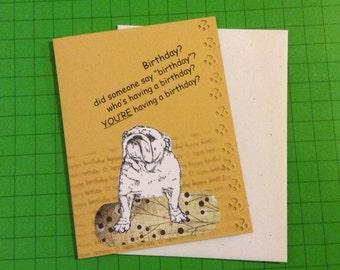 Handmade birthday card w/ bulldog wish the dog lover in your life a happy birthday