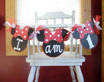 Minnie Mouse 1st Birthday - Minnie Mouse 2nd birthday - Minnie Mouse  Photo Prop - Minnie Mouse Highchair Banner- Red & White Minnie Mouse