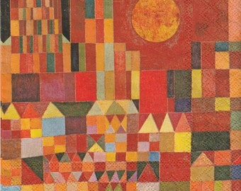 Paul Klee - Castle and Sun art napkin Decoupage