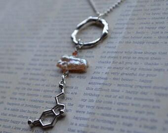 Biolojewelry-Serotonin Molecule Neurotransmitter Freshwater Pearl Necklace