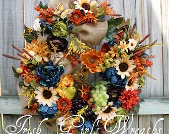 Deluxe Tuscan Splendor in Blue, Brown, Rust and Cream Wreath, Tuscan floral, French Country floral, Floral Wall Art, Poppy, Sunflower, Teal