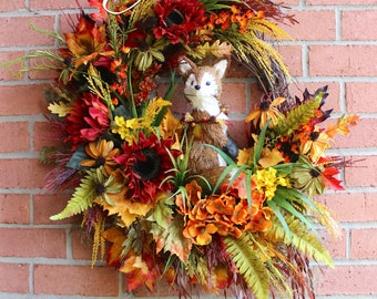 Fall Fox Wreath, Large Rustic Autumn Woodland Fox Wreath, Sunflower Wreath, Rust, Fall Swag, Fox decor, Fall Wall hanging