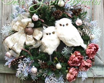 Iced Rose Pink Winter Snow Owl Couple Christmas Wreath, woodland Owl, White Feather Owl Family,  Rustic Owl Wreath