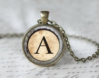Monogram Necklace - Typewriter Key Necklace - Custom Letter Necklace - Customizable Necklace - Custom Necklace - Glass Dome Necklace T497