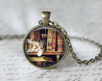 Book Necklace - Book Jewelry - Cat Necklace - Literary Jewelry - Library Necklace - Glass Dome Necklace - Teacher Necklace  (X05)