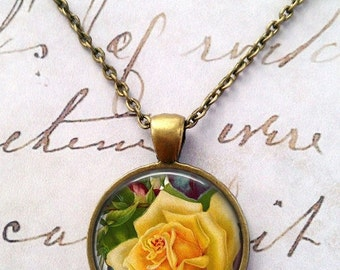 Yellow Rose Necklace, Vintage, Floral, Flowers, Victorian T393