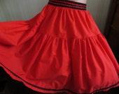 Vintage Red Full Tiered Skirt, Black Lace Trim, Line Dance Skirt, Square Dance, Retro Summer Skirt