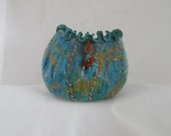 Felted vessel, blue, brown, merino wool with mohair yarn and beaded decorations