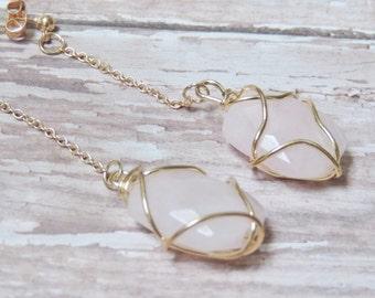Rose Quartz Gold Healing Crystal Earrings, Wire Wrapped Earrings