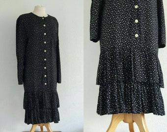 Vintage 1970s Polka Dot Drop Waist Dress US 10 EU 40 UK 12 Flippy Ruffle Tiered