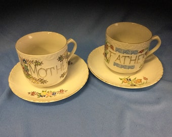 Vintage Mother And Father Mugs with Saucers