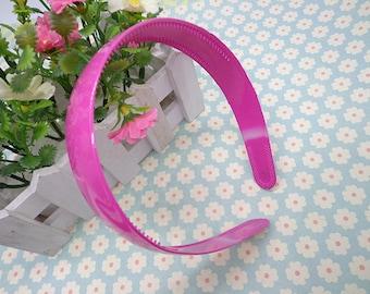 5 pcs rose red color plastic headband 25mm wide