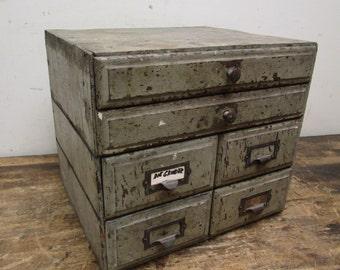Antique Primitive 6 Drawer File Recipe Spice Box Art Photo Tool Cabinet Card Catalog