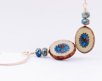 Turquoise Wash Dainty Dangle Earring, Turquoise, Czech Glass Earrings