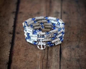 Message in a Bottle Paper Bead Charm Bracelet