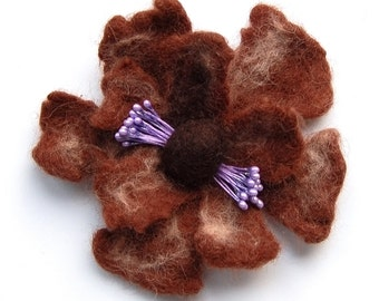 Felted flower brooch, wet felted wool flower pin, felt jewelry, brown and lila, flower felt pin, corsage, gifts for her, jewellery, corsage