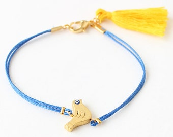 Bird bracelet, tassel bracelet, evil eye, friendship bracelet, bird charm, blue string bracelet, gift for her, best friend gift