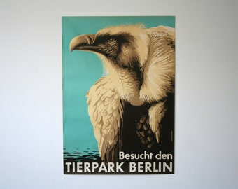 Original BERLIN Zoo vintage Advertising Poster - Eagle design P113