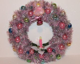Pink Christmas Wreath with Vintage Angel, Vintage Tinsel, Ornaments, Bell and Handmade Chenille Candle