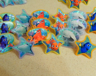 24 Finding Dory Cupcake Topper Rings Birthday Party Decoration