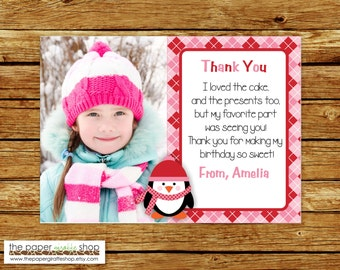 Penguin Thank You Card with Photo | Penguin Thank You Card | First Birthday | Winter Thank You Card | Pink Penguin for Girls Thank You Card