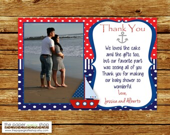 Nautical Sailboat Thank You Card with Photo | Ahoy It's a Boy Baby Shower | Nautical Thank You Card | Sailboat Thank You Card | Baby Shower