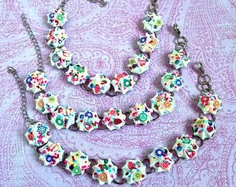 Whipped cream bracelet, sprinkles bracelet, polymer clay fruit bracelet, fruit salad bracelet, fruit jewelry, sprinkles jewelry