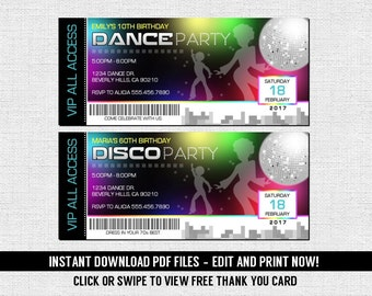 Dance 70's Disco Ticket Invitations Birthday Party - (Instant Download) Editable and Printable PDF Files - Free Thank You Card