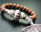 Sandalwood and African beads bracelet tassel bracelet tribal bracelet primitive bracelet stretch bracelet stackable boho African jewelry
