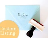 """Custom """"Modern Calligraphy"""" Return Address Stamp for Suzie - Wood Mounted, Handle & Eco-Friendly Rubber"""