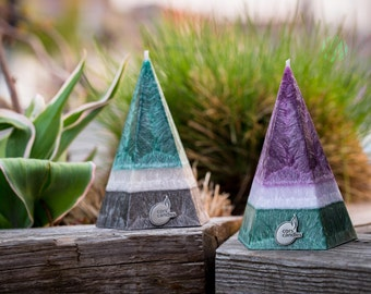 Two Vegan Pyramid Candles