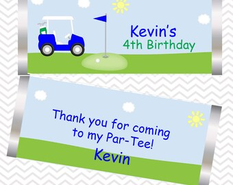 Golf Cart Blue - Personalized Candy Bar Wrapper, Birthday, Baby Shower