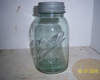 1920's Ball Perfect Mason Greenish Blue  Quart  Fruit  Canning jar  Wedding  Shower display centerpiece