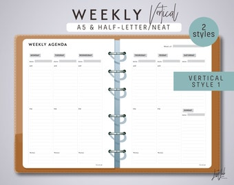 A5 2-page WEEKLY PLANNER (Vertical Style 1 and 2)- Printable Planner Inserts - Neat Theme / Printable PDF - fits Filofax A5, Kikki K Large