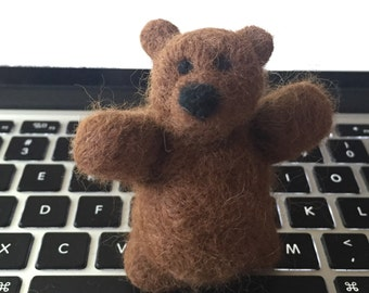 Brown Needle Felted Bear
