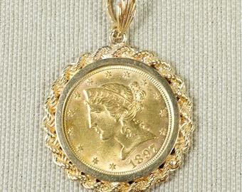 Classic Statement 14K Yellow Gold 5 Dollar Liberty Half Eagle 1897 Rope Bezel Set Coin Pendant Keepsake Charm 12.5 grams FREE SHIPPING!