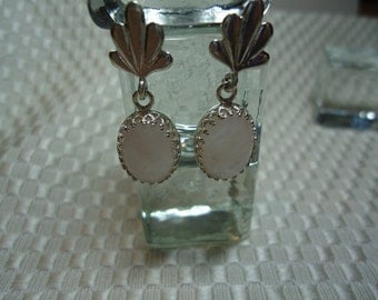 Oval Cabochon Rose Quartz Dangle Earrings in Sterling Silver   1842