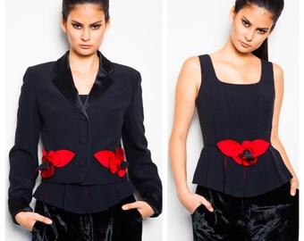 SALE was 450 now 250 amazing vintage 80s/90s MOSCHINO 3D floral flower rose black red satin bustier jacket blazer set suit